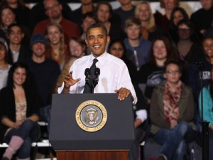 obama talks to students